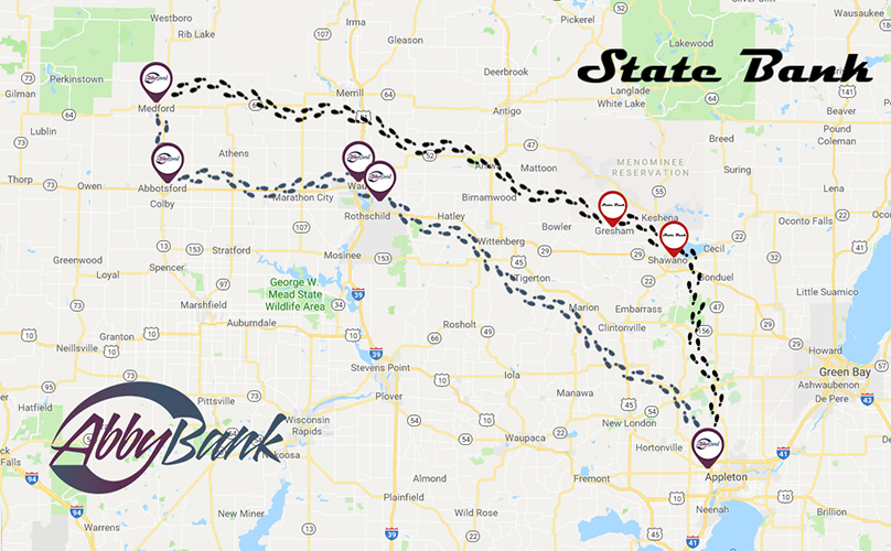 map of AbbyBank and State Bank locations with footprint tracks