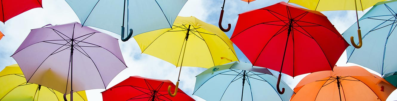 colorful umbrellas hanging overhead